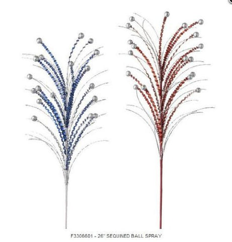 RAZ Imports - Patriotic Sequined Red, Silver & Blue Ball Sprays 26""
