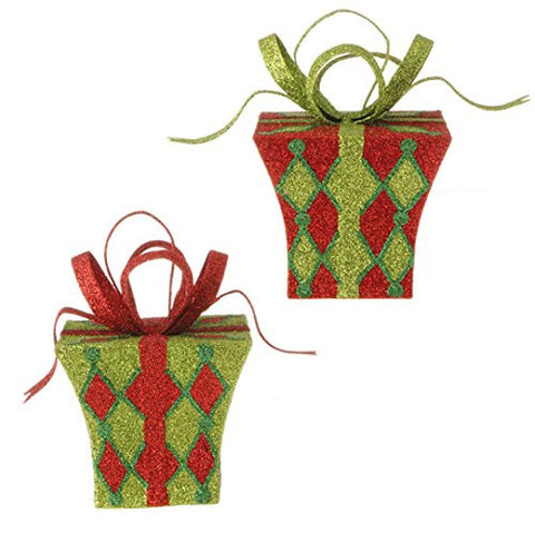 "RAZ Imports - 5.5"" Glittered Christmas Present Christmas Tree Ornaments - Set of 2"