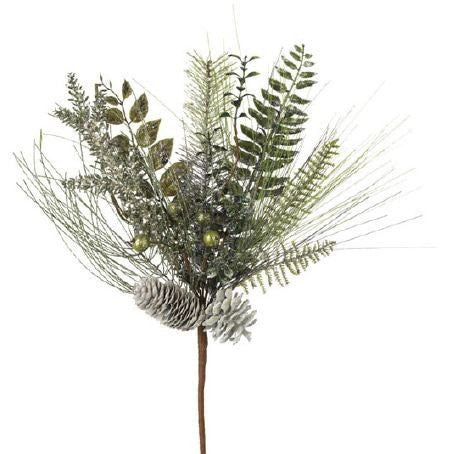 RAZ Imports - Glittered Pine with Pinecones Spray 19""