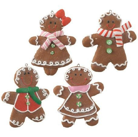 RAZ Imports - Multicolored Gingerbread Boy & Girl Ornaments