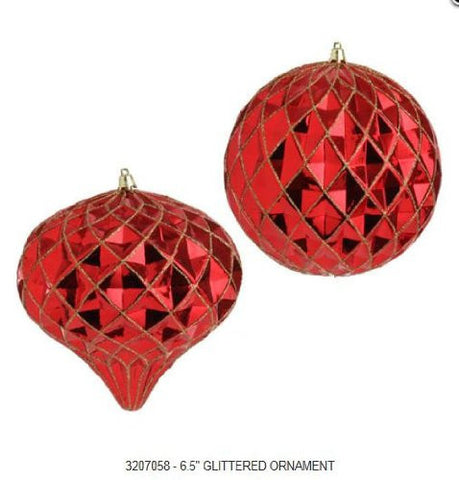 RAZ Imports - Red Glittered Lattice Ball and Kismet Ornaments