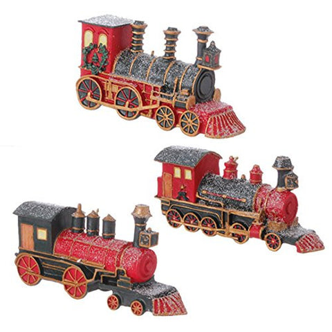 "RAZ Imports 4.5"" Glittered Polar Express Train Tree Ornaments Set of 3"