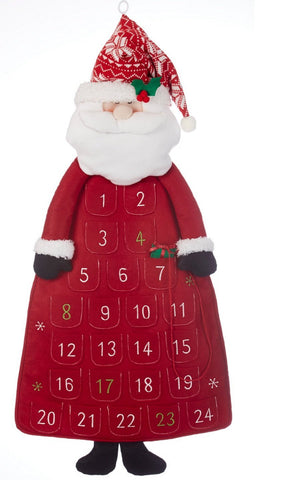 Delton Products Felt Santa Christmas Countdown Fabric Advent Calendar, 36""