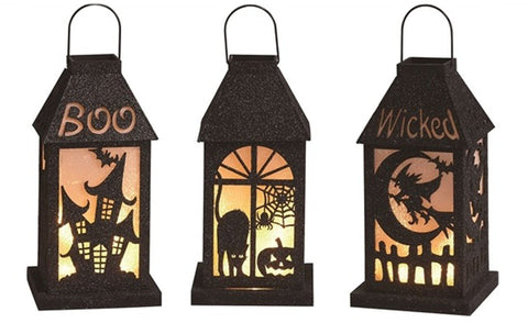 "10"" Black Halloween Themed LED Lanterns - Set of 3"