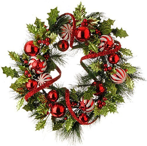 "Raz 24"" Holiday Holly Pine & Ball Ornaments Red / Green Christmas Wreath"