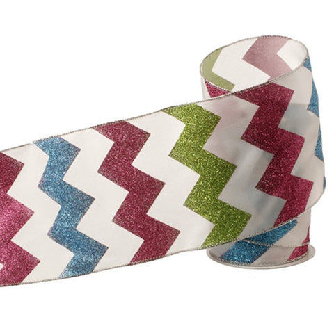 Glittered Chevron Style Birthday or Christmas Wired Ribbon, 5 Inch Wide X 10 Yards