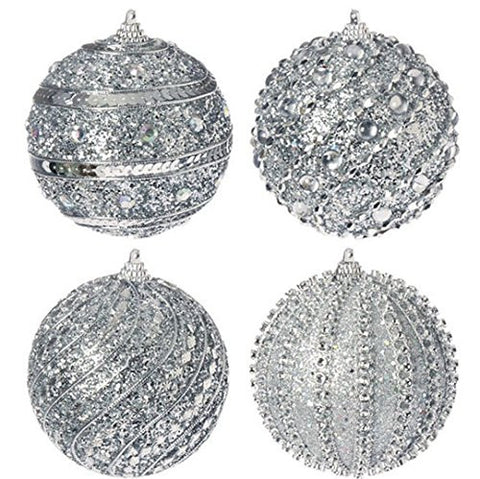 "Raz Imports 4"" Silver Glittered Ball Ornament"