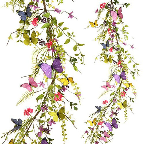 RAZ Imports Spring/Easter/Wildflower 5' Butterfly Garland