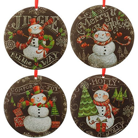 "RAZ 6"" Snowman Disk Ornament - 4/pk assortment"