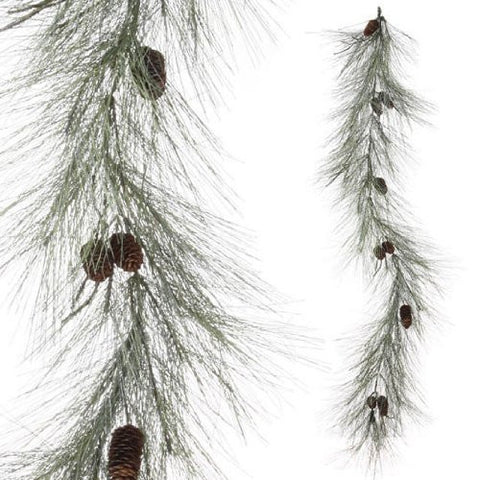 RAZ Imports - Glittered Pine Garland with Pinecones 6'