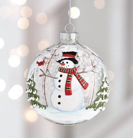 Snowman with Cardinal Bird, Snow and Christmas Trees Ball Ornament, 4 inches