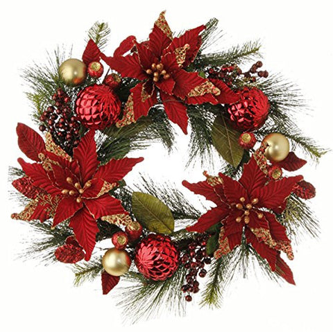 "RAZ Imports - Garnet - 26"" Red and Gold Poinsettia and Ball Ornament Wreath"