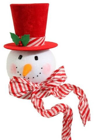 "RAZ Imports - 15"" Peppermint Snowman Head Christmas Tree Toppers"