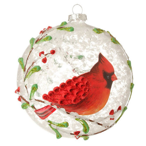 Red Cardinal & Berry Branches Glass Ball Christmas Tree Ornament, 5 Inches