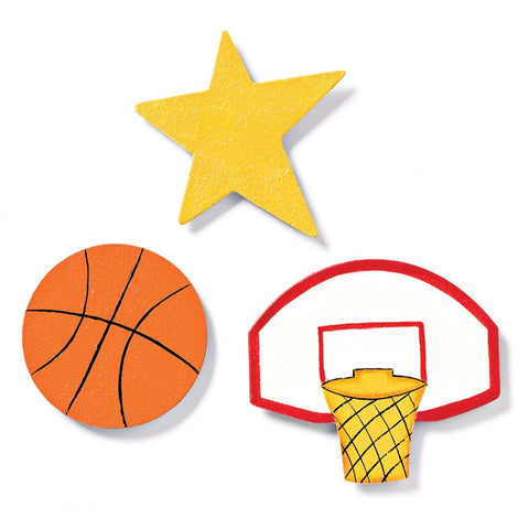 Embellish Your Story Basketball Magnets - Set of 3 Assorted - Embellish Your Story Roeda 13951-EMB