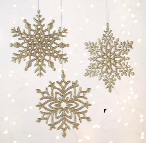 "RAZ Imports - 5"" Champagne Snowflake Christmas Tree Ornaments - Set of 3"