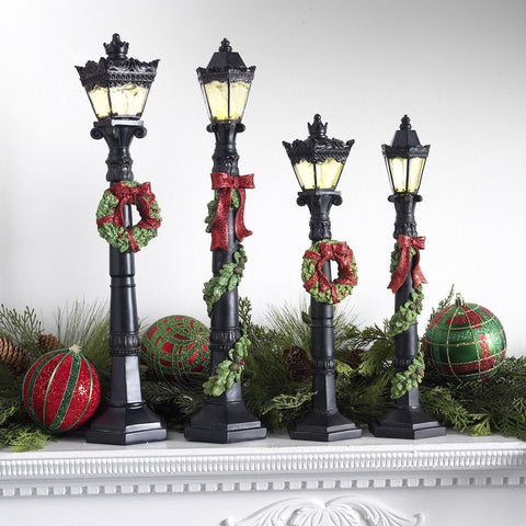 Christmas Lamp Post Set- Set of 2- 14.5 Inches