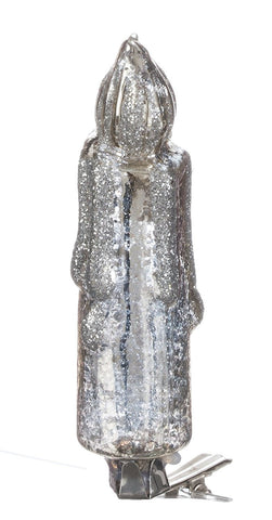 Sullivans - Glittered Antiqued Silver Glass Clip-On Candle 4.5""