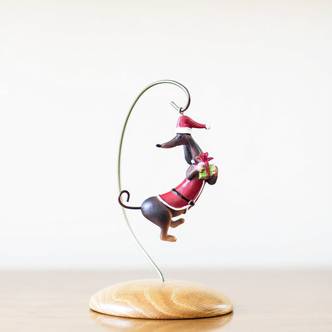 Perfectly Festive - Santa Claus Dachshund with Present Christmas Tree Ornament