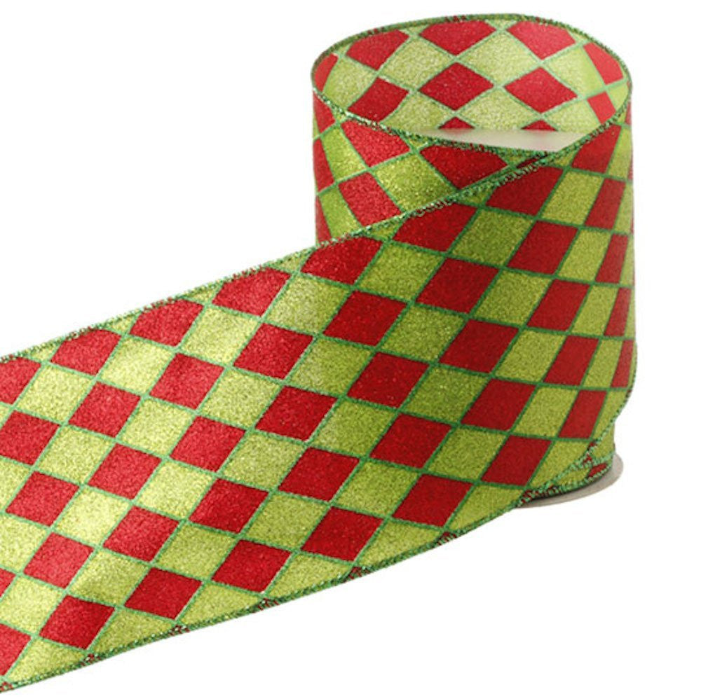red green harlequin diamond pattern christmas wired ribbon 4 inch wide x 10 yards