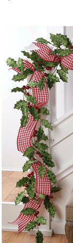RAZ Imports - 5' Velvet Green Holly with Gold Glittered Edges & Red Balls Christmas Garland