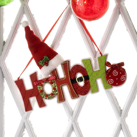 RAZ Imports HO HO HO Wooden Ornament - 11.5 x 6.5 Inches - Red, Green, White