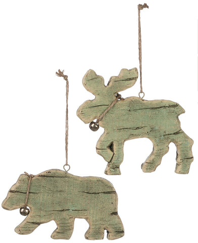 Sullivans - Moose and Bear with Jingle Bell Ornaments