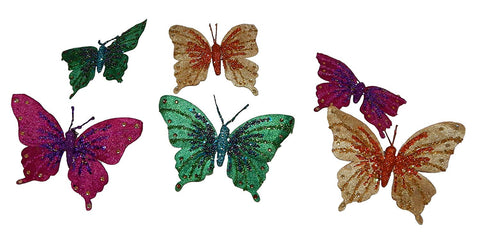 Fabric Butterfly Adorned with Gems - Set of 6 with clips for your Christmas Tree