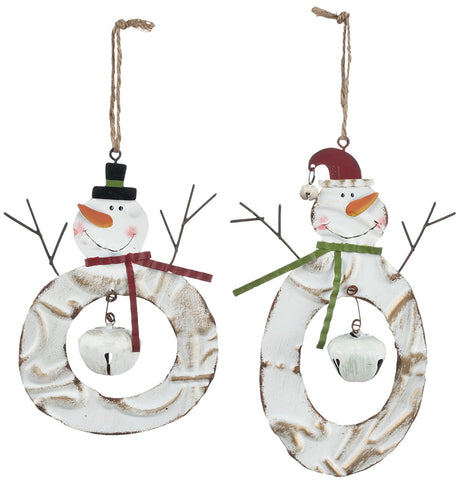 Sullivans - Snowman with Bell Metal Wreath Ornaments 7""