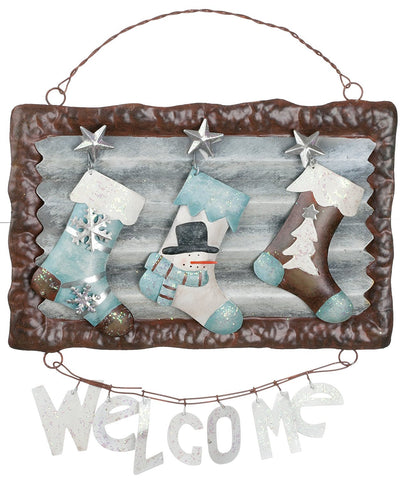 Sullivans - Winter Welcome Stockings Metal Sign
