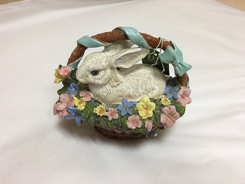 "RAZ Imports - Spring/Easter - 5"" Easter Bunny In a Basket with Flowers"
