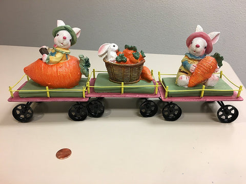 Decorative Spring Easter Train - Set of 3 Cars with Rabbits / Bunnies