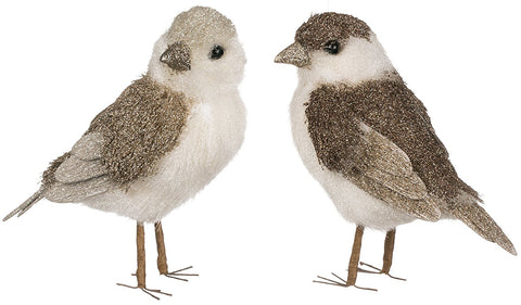 Sullivans - Natural Fiber White/Brown Birds with Glitter 6""