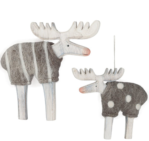 Sullivans - Moose with Wool Sweaters Ornaments