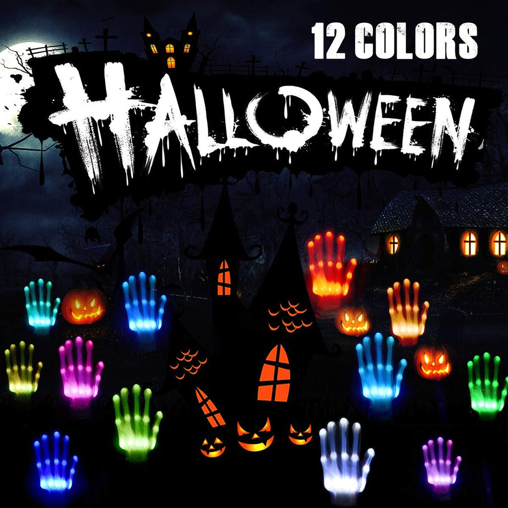 Klbjames-Flashing LED Skeleton Gloves Light up Glowing Finger Toys, Horrific Halloween Costume