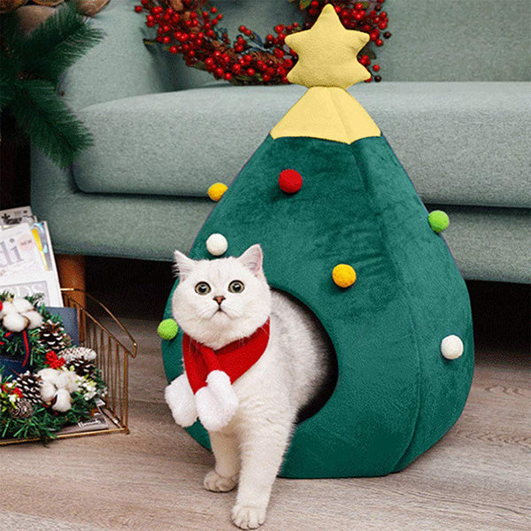 Klbjames-Winter Warm Christmas Tree Shape Pet Cat Cave Bed Nest