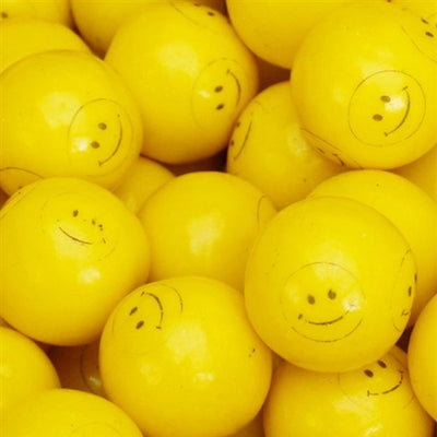 850 Yellow Smile Face Gumballs - 24mm