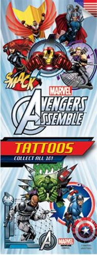 300 Avengers Assemble Tattoos In Folders - FREE DISPLAY! - Wholesale Vending Products