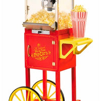 "Old Fashioned Movie Time 48"" Popcorn Cart, Red - Wholesale Vending Products"