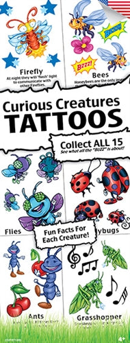 300 Curious Creatures Temporary Tattoos In Folders - FREE DISPLAY! - Wholesale Vending Products