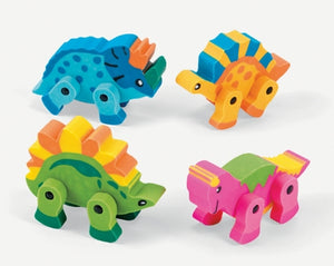 12 Dinosaur Movable Erasers - Wholesale Vending Products