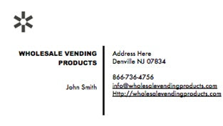 100 Black & White Custom Business Cards - Wholesale Vending Products