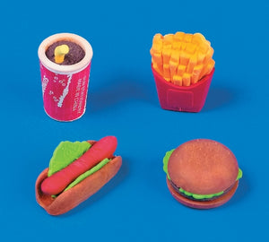 24 Fast Food Erasers - Wholesale Vending Products