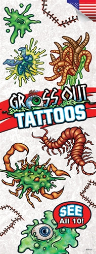 300 Gross Out Temporary Tattoos In Folders - FREE DISPLAY! - Wholesale Vending Products