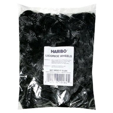 5 Lbs Haribo Black Licorice Wheels