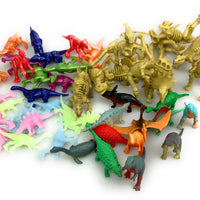 48 Assorted Dinosaur Figures - Glow, Skeleton, Painted, and Solid Dinos
