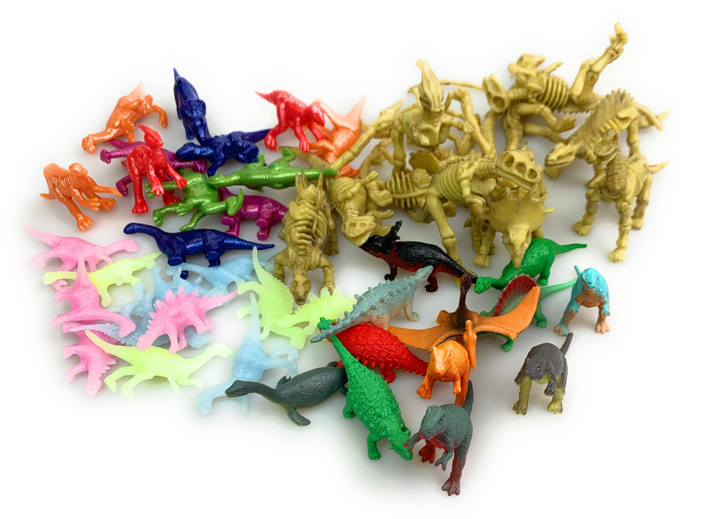 48 Assorted Dinosaur Figures - Glow, Skeleton, Painted, and Solid Dinos - Wholesale Vending Products