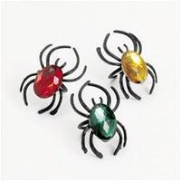 72 Plastic Spider Rings With Jewels - Wholesale Vending Products