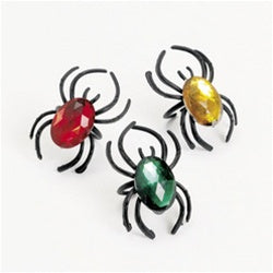 72 Plastic Spider Rings With Jewels