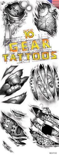 "300 Mechanical ""Gear"" Temporary Tattoos In Folders - FREE DISPLAY!"